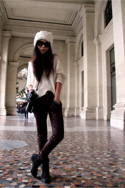 Topshop hat - boots boots - 7 for all mankind jeans - Qi sweater
