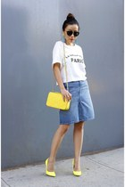 Bag bag - sunglasses sunglasses - Skirt skirt - Top t-shirt - Shoes heels