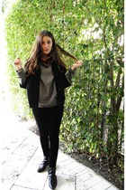 Zara jacket - Forever 21 leggings - Zara shoes - banana republic sweater