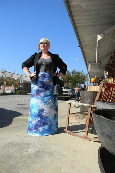 sky blue tie dye skirt - black new look blazer - gray scoop neck Splash t-shirt