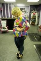 blue blouse - yellow blouse - hot pink diamond print Lane Bryant blouse