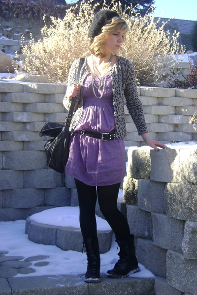 trinity dress - Mia boots - forever 21 sweater - delias hat