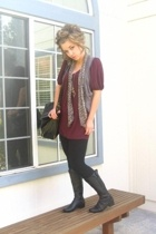 forever 21 dress - forever 21 scarf - delias purse - simply vera wang boots
