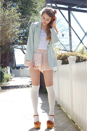 mint green vintage blazer - pink lace American Apparel shorts