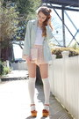Mint-green-vintage-blazer-pink-lace-american-apparel-shorts