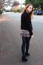 black boots - coat - ruffled floral skirt