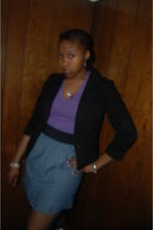 black jacket - purple shirt - blue skirt