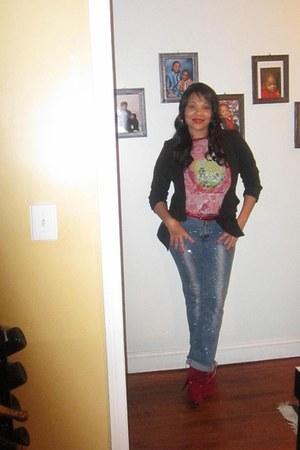 blue Village Jeans jeans - blue NY VIP boots - black Charlotte Russe blazer