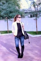 banana republic blazer - Cole Haan boots - Gap jeans - Michael Kors bag
