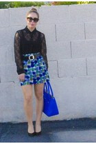 banana republic skirt - calvin klein bag - Prada sunglasses - Kelsi Dagger pumps