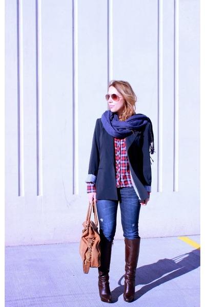 Marshalls blazer - Via Spiga boots - Gap jeans - Marshalls shirt - Target scarf
