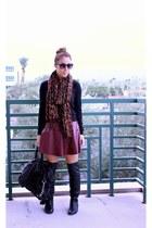 H&M scarf - DV by dolce vita boots - Victorias Secret sweater - Michael Kors bag