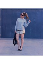 French Connection sweater - Michael Kors bag - Zara shorts - Prada sunglasses