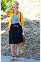 mustard cozy boutique cardigan - cross body H&M bag