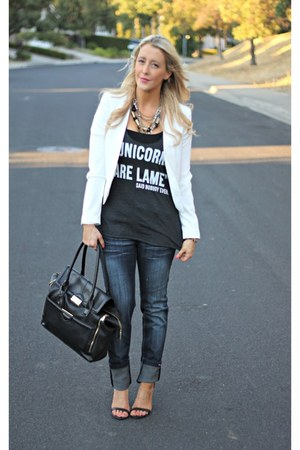 black Topshop bag - blue Rose Royce jeans - white Forever 21 blazer