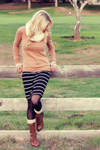 nude Forever 21 sweater - brown Forever young boots - polka dots H&M tights