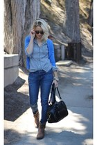 blue Apricot Lane Botique jeans - brown Target boots - blue Forever 21 sweater