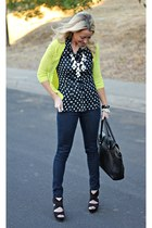 dotted H&M shirt - dark madewell jeans - neon Forever 21 sweater