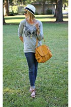 brown Forever 21 shoes - blue Apricot Lane Botique jeans - white J Crew hat