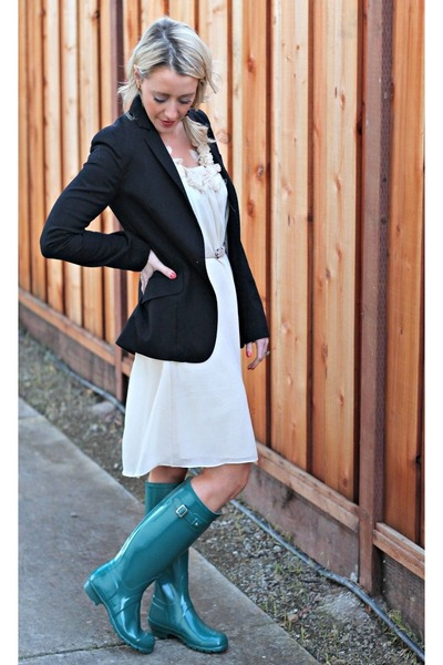 green Hunter boots - navy H&amp;M blazer