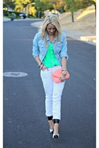 white Old Navy jeans - denim Old Navy jacket - coral the impeccable pig bag
