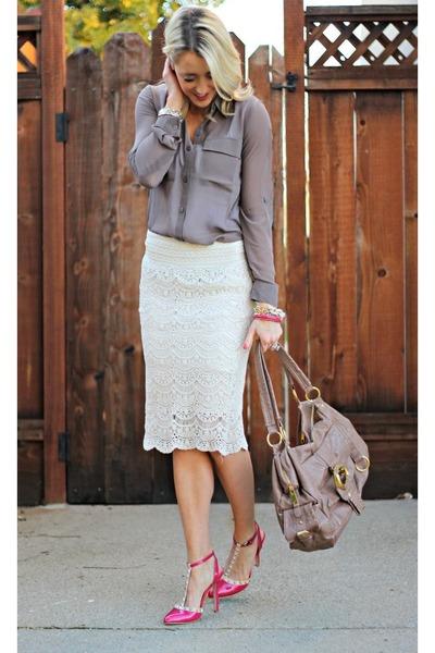 cf536f4c2 white crochet Winsome Jones skirt - heather gray grey Forever 21 shirt