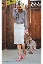 white crochet Winsome Jones skirt - heather gray grey Forever 21 shirt