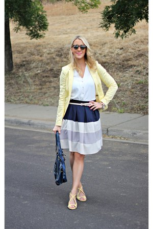stripped Cozy skirt - yellow Ruche shoes - yellow H&amp;M blazer - white H&amp;M shirt