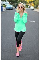 pink Old Navy shoes - black Old Navy pants - green Old Navy top