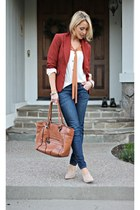 white-brown Winsome Jones shirt - blue Apricot Lane Botique jeans