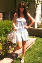 blue mango romper suit - white Jessica Simpson shoes - white Barneys New York pu