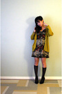 Gold-sparrow-cardigan-brown-urban-outfitters-dress-black-target-socks-blac