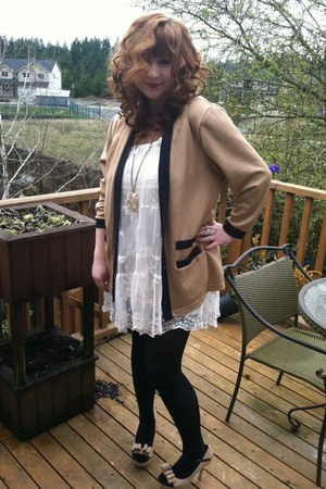 black Ross pumps - white Forever 21 dress - tan vintage cardigan