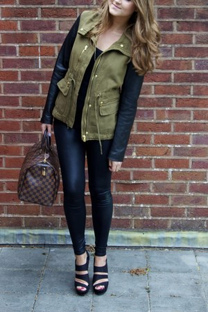 Zara jacket - Topshop leggings - Louis Vuitton bag - new look wedges