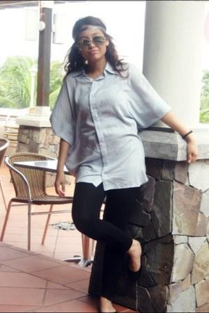 silver accessories - black Ray Ban glasses - black cotton on leggings - light bl