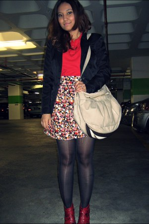 black blazer - red top - red skirt - black socks - red shoes - beige bag