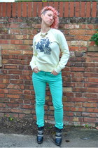 black Carvella boots - aquamarine mint skinny Falmers jeans
