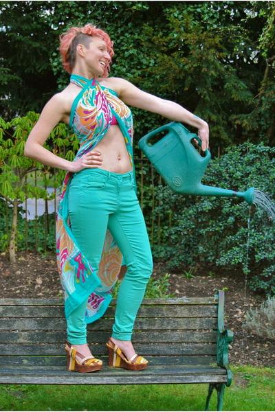 hot pink worn as top Matthew Williamson for H&M scarf - aquamarine Falmer jeans