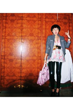 Zara jacket - zipzap top - Yuan belt - crown closet necklace - glitz leggings -