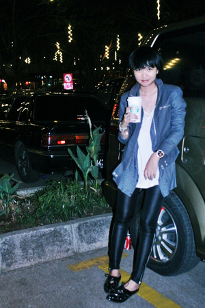 giordano blouse - giordano top - Zara jacket - Yuan stockings - Topshop shoes -