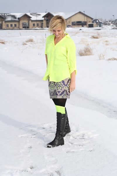 yellow knee high socks Target socks - yellow sequins Express skirt