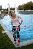 corset gingham Forever 21 top - polka dot Forever 21 sweater - floral H&M pants