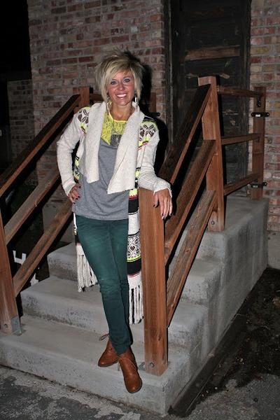 navajo vera wang sweater - Forever 21 boots - neon vera wang shirt - H&M pants