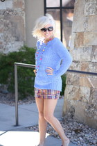 sky blue knit sweater Forever 21 sweater - plaid shorts Gap shorts