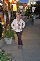 H&M jacket - color Luxe pants - Forever 21 heels - floral Lauren Conrad t-shirt
