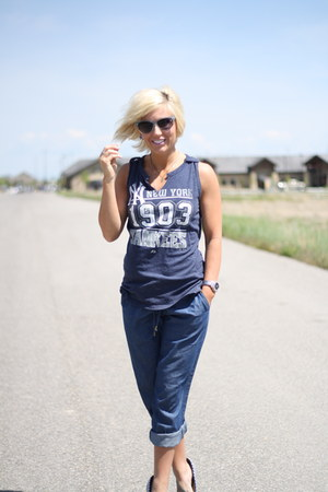relaxed fit Forever 21 pants - tank yankees MLB top