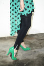Green-polka-dots-shawtynstilettos-dress-black-boho-hat-h-m-hat