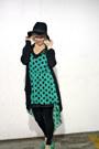 Green-polka-dots-shawtynstilettos-dress-black-boho-hat-h-m-hat