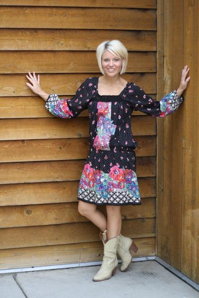 beige vintage boots Frye boots - black floral dress Angie dress