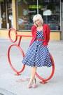 Navy-ebay-dress-ruby-red-heels